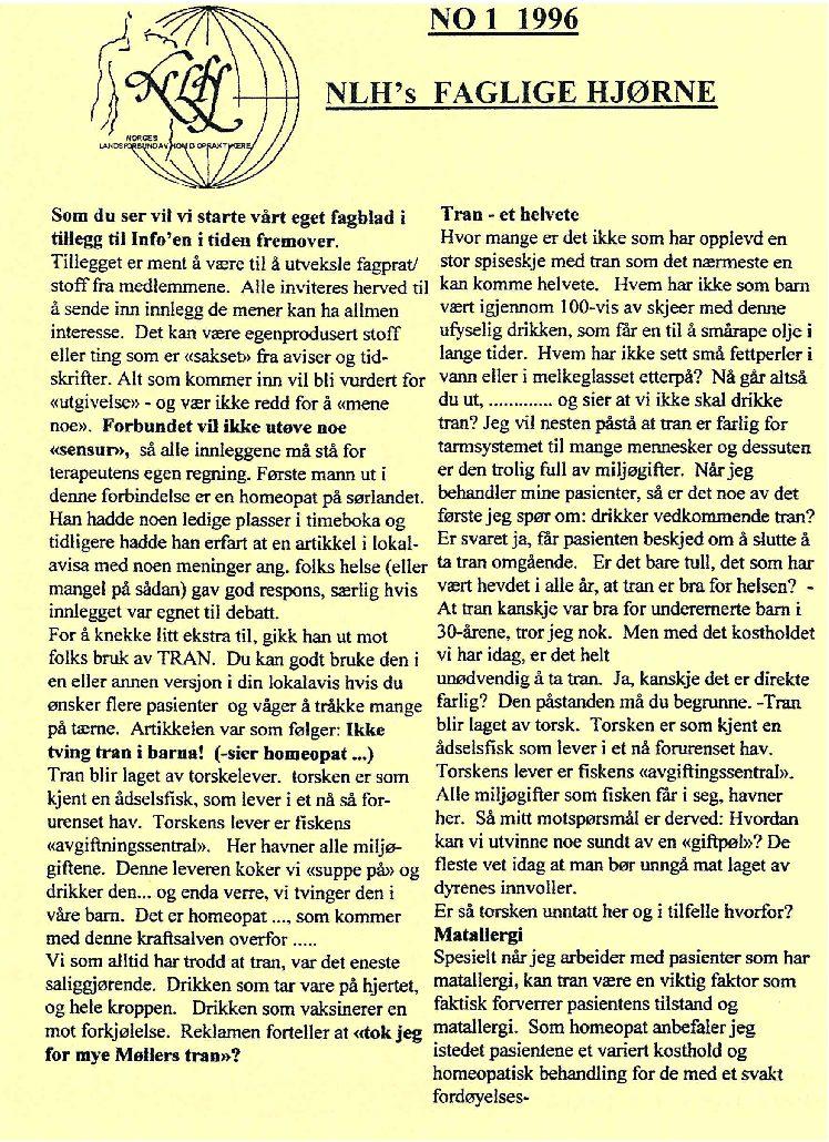 Faglig Hjørne nr. 1-1996