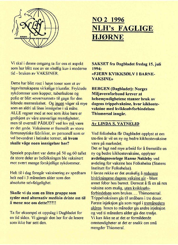 Faglig Hjørne nr. 2-1996