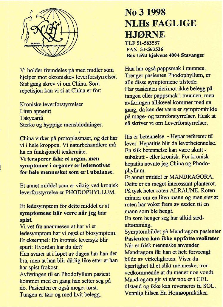 Faglig Hjørne nr. 3-1998