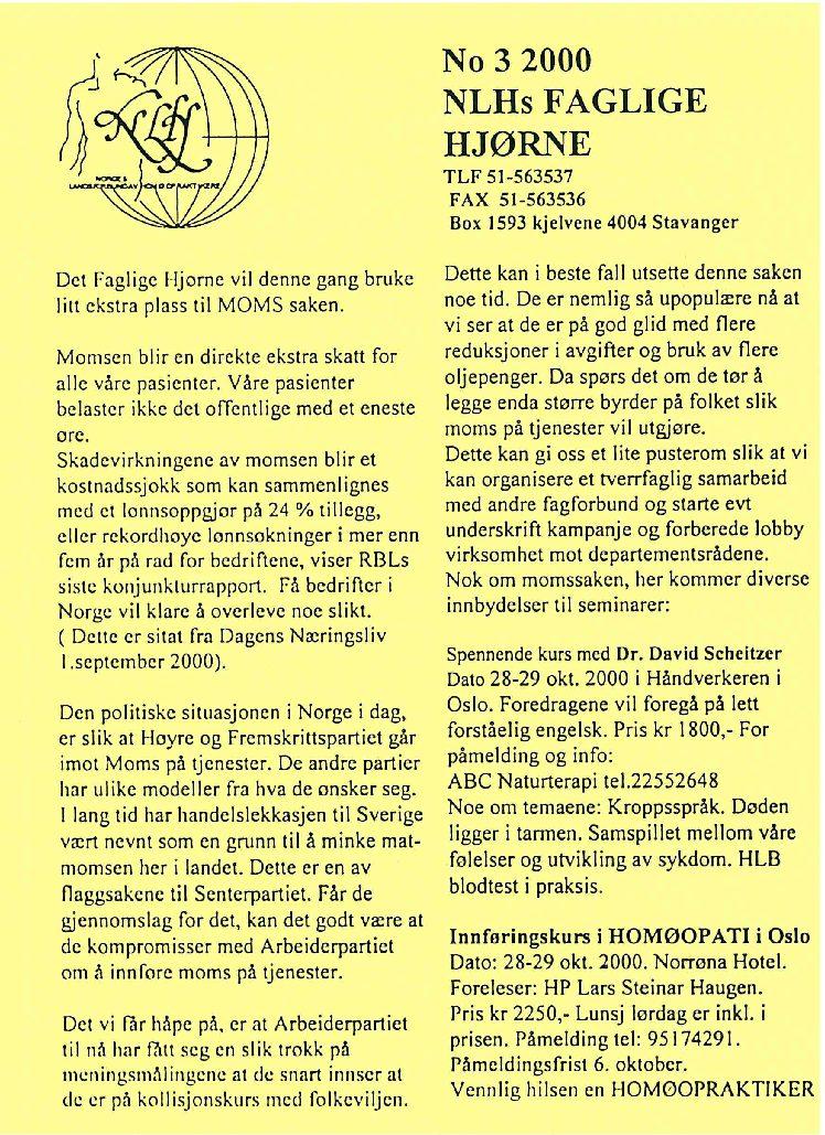 Faglig Hjørne nr. 3-2000