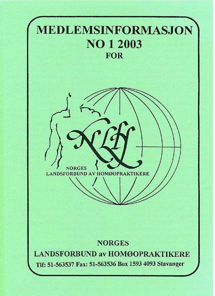 Medlemsinfo nr. 1-2003