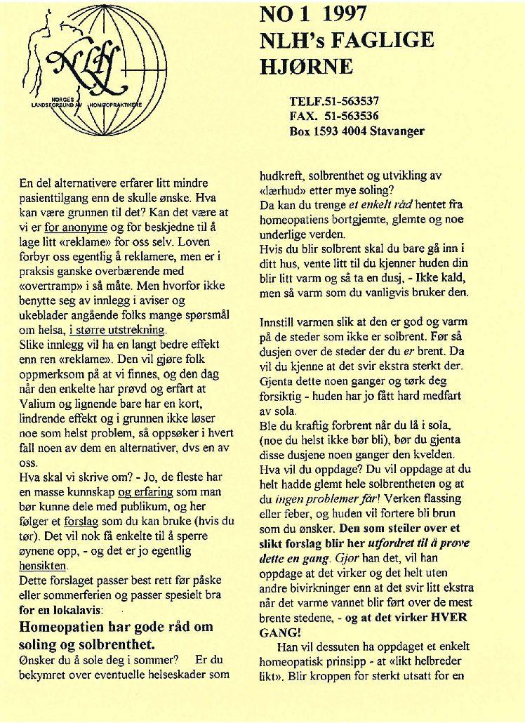 Faglig Hjørne nr. 1-1997