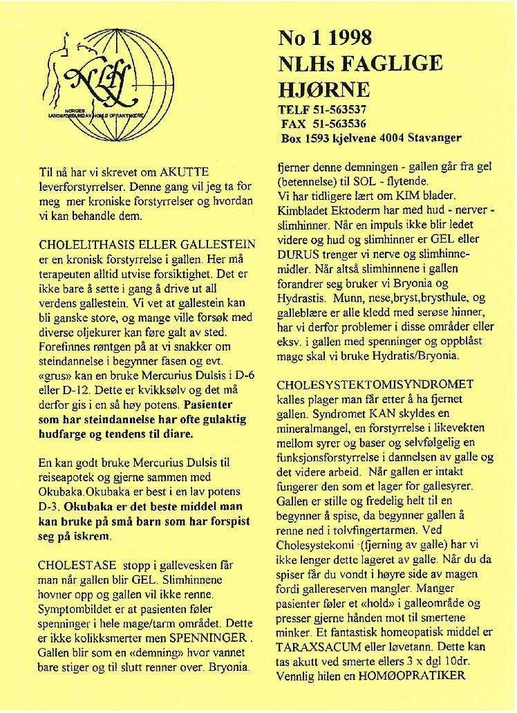 Faglig Hjørne nr. 1-1998