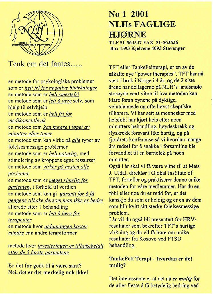 Faglig Hjørne nr. 1-2001