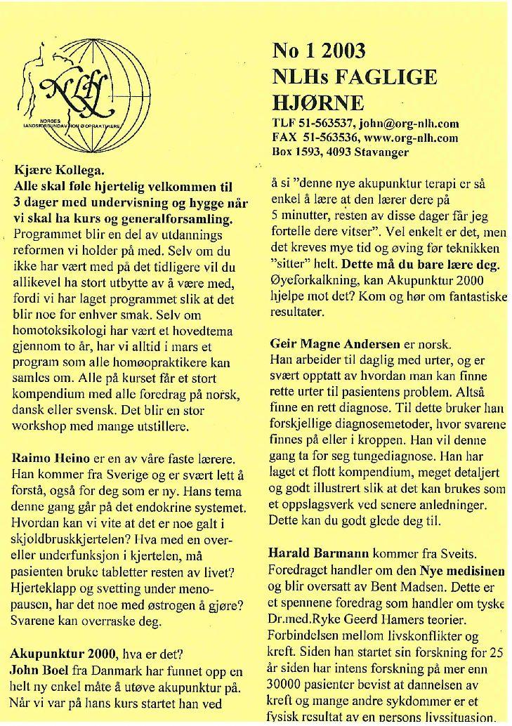 Faglig Hjørne nr. 1-2003