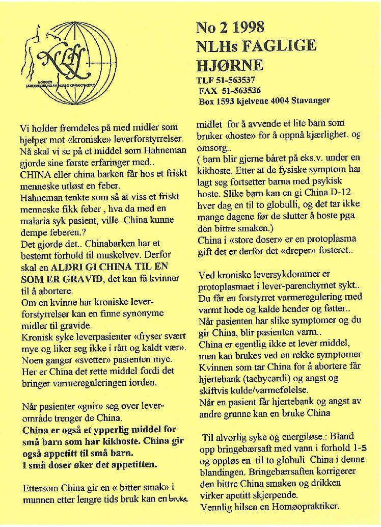 Faglig Hjørne nr. 2-1998