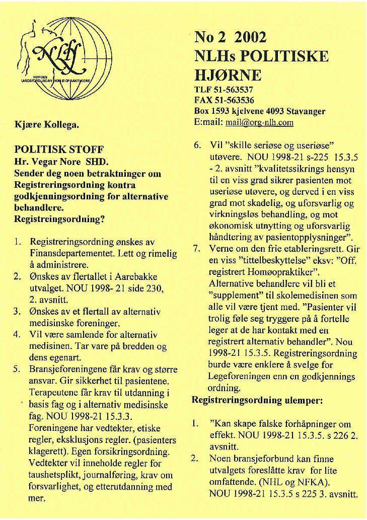 Faglig Hjørne nr. 2-2002