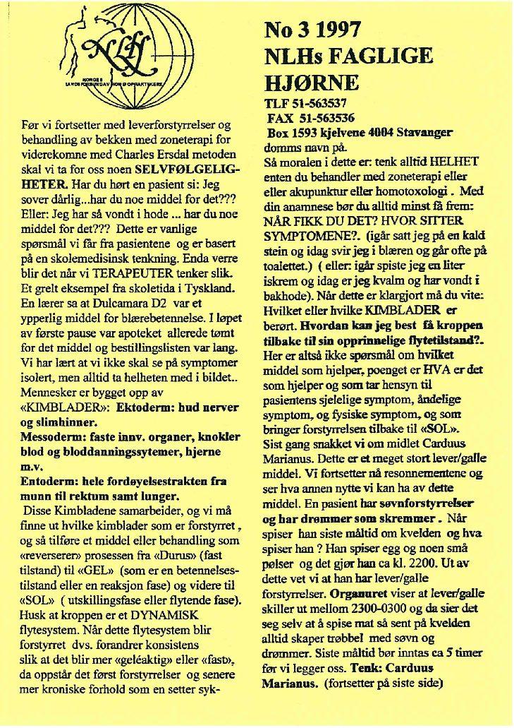 Faglig Hjørne nr. 3-1997