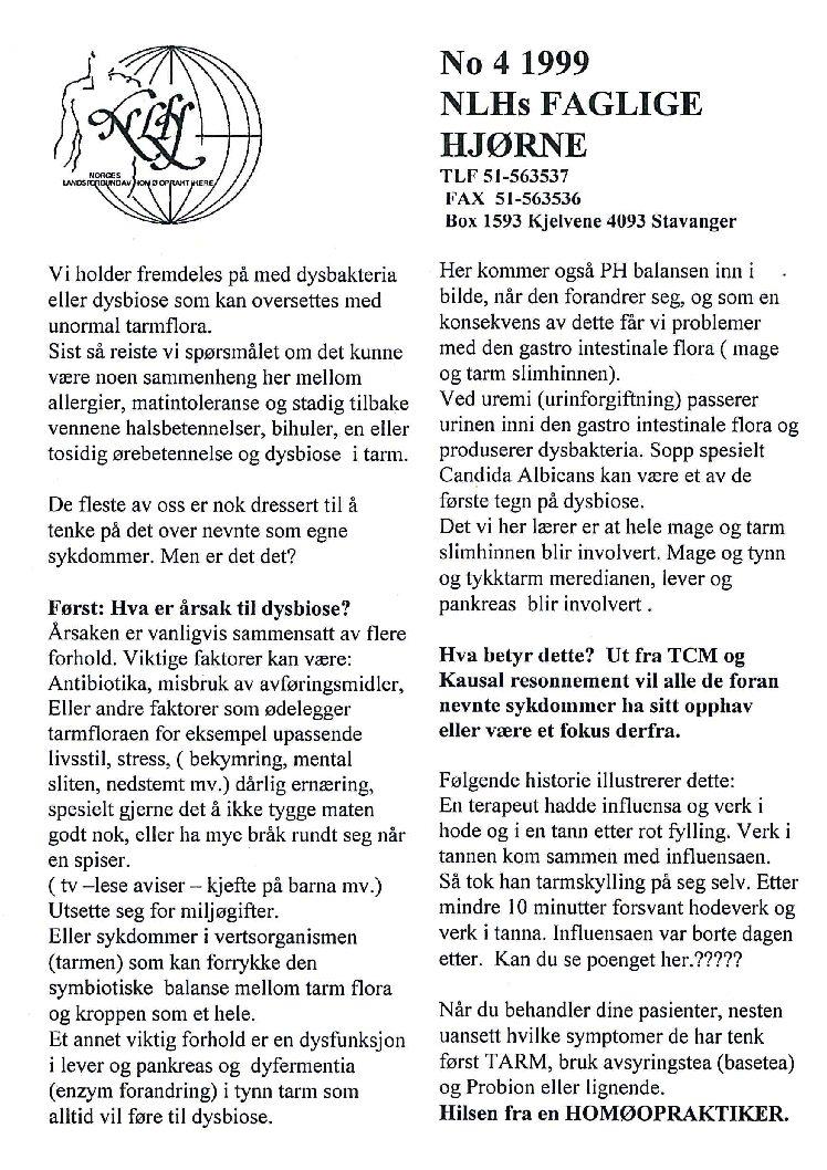 Faglig Hjørne nr. 4-1999