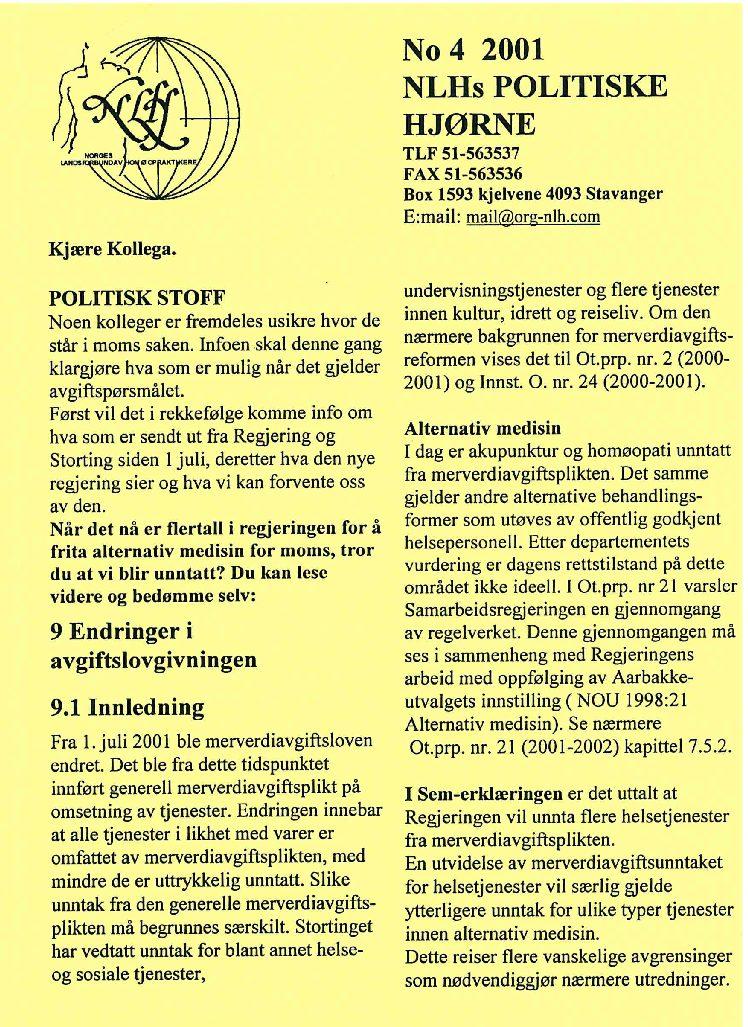 Faglig Hjørne nr. 4-2001