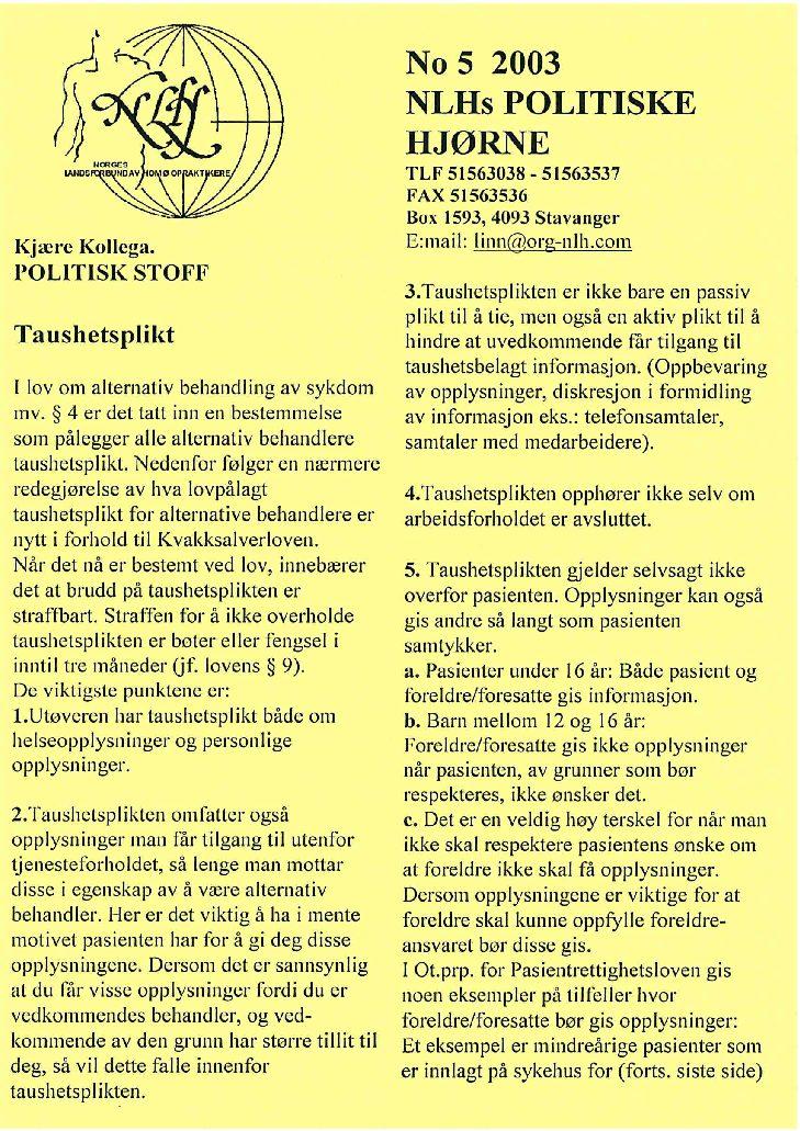 Faglig Hjørne nr. 5-2003