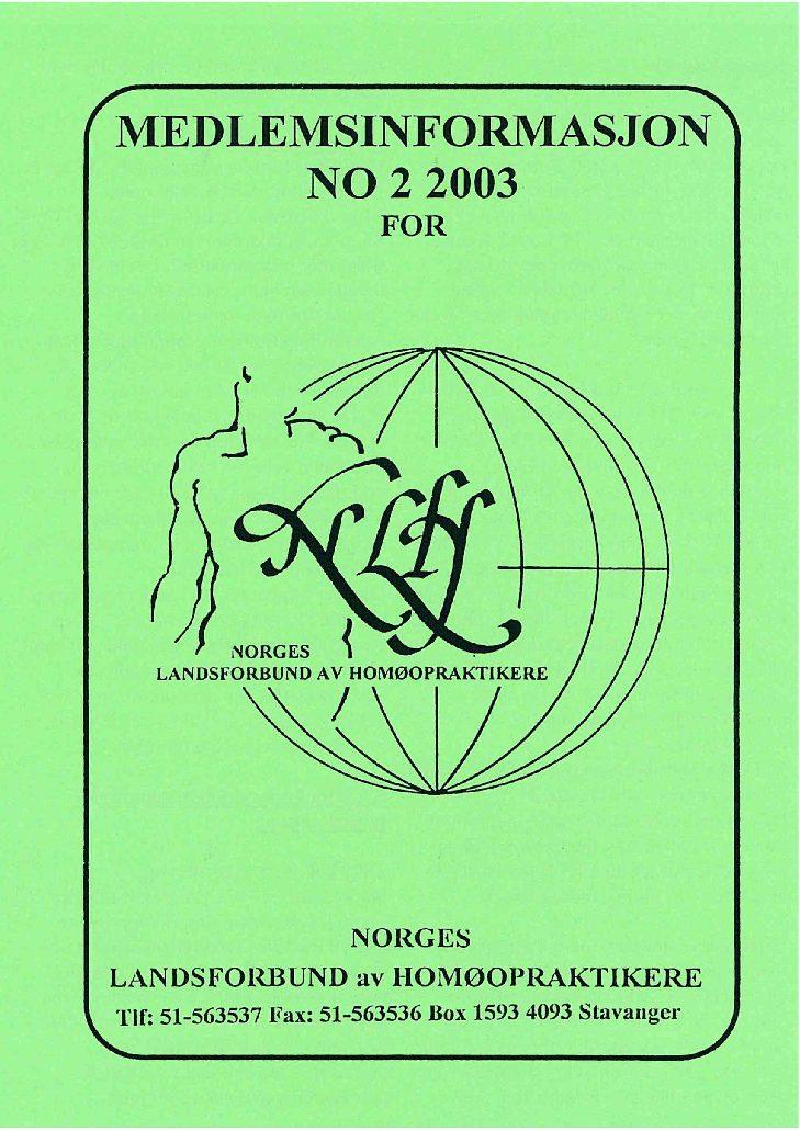 Medlemsinfo nr. 2-2003